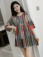 Women's Going out Simple Loose / Chiffon Dress,Print Round Neck Above Knee ½ Length Sleeve Black  Summer