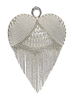 L.west Women Elegant High-grade Heart-shaped Pearl Tassel Diamonds Evening Bag