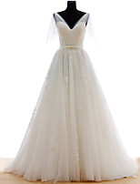 A-line Wedding Dress Court Train V-neck Lace / Tulle with Sash / Ribbon / Appliques / Beading / Bow / Lace