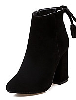 Women's Boots Winter Bootie / Round Toe Dress Chunky Heel Rivet / Zipper Black / Gray / Beige Others