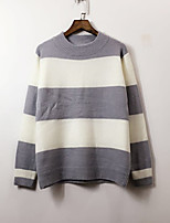Women's Casual/Daily Simple Regular Pullover,Striped Round Neck Long Sleeve Nylon Spring / Fall Medium