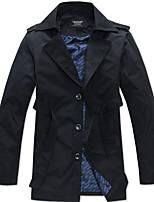 Lesmart Men's Stand Long Sleeve Trench Coat Khaki / Dark Blue-MDFY1101