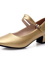 Women's Dance Shoes Heels Breathable Leather Low Heel Gold/Silver/Black/Red