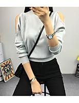 Damen Standard Pullover-Ausgehen Einfach Solide Rot / Weiß / Schwarz / Grau / Gelb Rollkragen Langarm Baumwolle / Acryl Frühling / Herbst