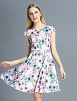 Boutique S Women's Casual/Daily Cute A Line Dress,Floral Round Neck Above Knee Sleeveless Pink Polyester Summer