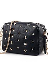 Women PU Casual Metallic Colors Rivet Shopping Shoulder Key Holder Mobile Phone Bag