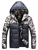 Men's Regular Down Coat,Polyester Camouflage Long Sleeve