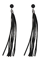 New 2016 Earring Jewelry Black PU Leather Tassel Earrings Statement Long Earrings For Women Exaggerated Accessories