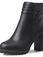 Women's Shoes Boots Spring/Fall/Winter Heels/Bootie/Round Toe Office & Career/Party & Evening/Casual Chunky Heel Zipper