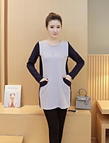 Maternity Casual/Daily Cute Loose Dress,Color Block Round Neck Above Knee Long Sleeve Gray Cotton Summer