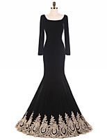 Formal Evening Dress Trumpet / Mermaid Square Sweep / Brush Train Velvet with Ruffles