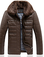 Men's Long Sleeve Casual Jacket,PU Solid Brown
