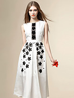 Angel Women's Going out Street chic Chiffon Dress,Embroidered Round Neck Midi Sleeveless Polyester Summer
