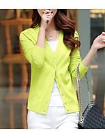 Women's Casual/Daily Simple Regular Cardigan,Solid V Neck Long Sleeve Cotton Fall / Winter Medium