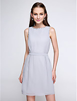 Lanting Bride® Short / Mini Chiffon Bridesmaid Dress - Color Block Sheath / Column Jewel with Beading