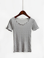 Women's Casual/Daily Simple / Cute Regular Pullover,Solid Round Neck Short Sleeve Cotton / Acrylic Summer