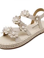Women's Sandals Summer Sandals Leatherette Outdoor Flat Heel Flower White Others