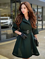 Women's Going out / Formal / Holiday Vintage / Cute / Sophisticated Coat,Solid Peter Pan Collar ½ Length Sleeve