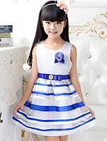 Girl's Casual/Daily Striped Dress,Cotton / Polyester All Seasons Blue / Yellow