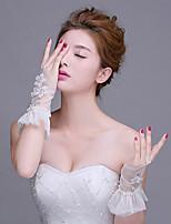 Wrist Length Fingerless Glove Net Bridal Gloves Sequins / Beading / Floral