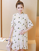 Maternity Casual/Daily Street chic Loose Dress,Print Stand Above Knee ½ Length Sleeve Beige Polyester Summer