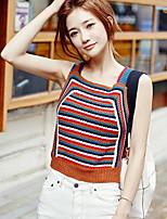 Women's Going out Vintage Short Vest,Patchwork Beige / Brown Square Neck Sleeveless Cotton / Acrylic Summer Medium