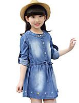 Mädchen Kleid / Jeans-Lässig/Alltäglich Bestickt Baumwolle Frühling / Herbst Blau