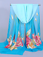 Women's Chiffon Flowers Print Scarf Blue/Red/Yellow/Fuchsia