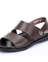 סנדלים-גברים של נעליים-קז'ואל-עור-שחור / חום