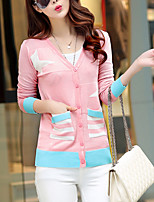 Going out / Casual/Daily Street chic Regular Cardigan,Print Blue / Pink / Red V Neck Long Sleeve Cotton