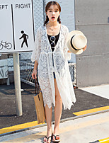 Women's Casual/Daily Simple Summer Cloak/Capes,Embroidered Halter Long Sleeve White Polyester Medium
