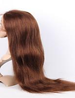 evawigs перуанского девственной человеческих волос 10-26 дюймов средний коричневый цвет шелка прямой полный парик шнурка с волосами