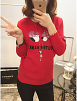 Women's Casual/Daily Simple Regular Pullover,Print Red Round Neck Long Sleeve Rabbit Fur Spring / Fall Medium