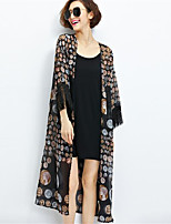 Women's Casual/Daily Simple Coat,Print Cowl ¾ Sleeve Summer Black Polyester Thin