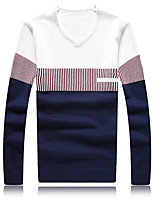Men's Fashion Striped V Neck Casual Slim Fit Pullover Knitted Sweater;Casual/Plus Size