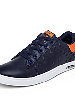 Men's Flats  Comfort / Round Toe / Closed Toe Leatherette Casual Flat Heel Lace-up Black / Blue / White