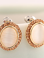 Earring Oval Stud Earrings Jewelry Women Fashion Daily / Casual Alloy 1 pair Gold