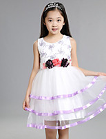 Girl's Casual/Daily Embroidered Dress,Others Summer Pink / Purple / White