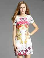 Mulheres Reto Vestido,Casual Vintage Floral Decote Redondo Acima do Joelho Manga Curta Branco Poliéster Verão