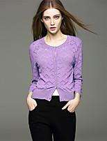Mara Carol® Women's V Neck 3/4 Length Sleeve Sweater & Cardigan Black / White / Green / Purple-1620218