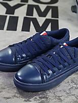 Herren-Sneaker-Lässig-PU-Flacher Absatz-Komfort / Quadratische Zehe-Schwarz / Blau / Weiß