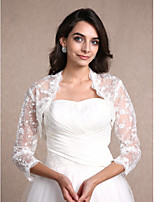 Women's Wrap Shrugs 3/4-Length Sleeve Lace Ivory Wedding / Party/Evening / Casual Scoop 30cm Lace Open Front