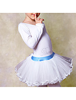 Ballet Dresses Children's Training Cotton Lace 1 Piece White Ballet Long Sleeve Natural Dress