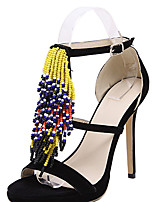 Women's Sandals Summer Sandals Fleece Casual Stiletto Heel Tassel Black / Blue Others