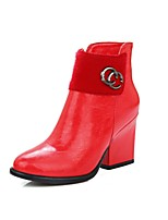 Women's Boots Fall / Winter Bootie / Round Toe PU Office & Career / Casual Chunky Heel Fur Black / Red / Whit Others