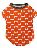 Chien T-shirt Orange Hiver / Eté / Printemps/Automne Classique / Os Mariage / Saint-Valentin / Mode / Noël, Dog Clothes / Dog Clothing-