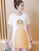 Maternity Casual/Daily Simple Loose Dress,Color Block Round Neck Above Knee Short Sleeve White Cotton Summer