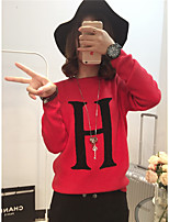 Women's Casual/Daily Simple Regular Pullover,Letter Red Round Neck Long Sleeve Rabbit Fur Spring / Fall Medium