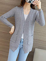 Women's Casual/Daily Street chic Regular Cardigan,Solid  V Neck Long Sleeve Polyester Fall Medium