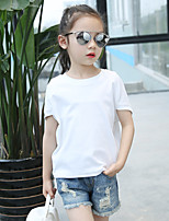 Girl's Casual/Daily Solid Blouse,Cotton Summer Brown / White